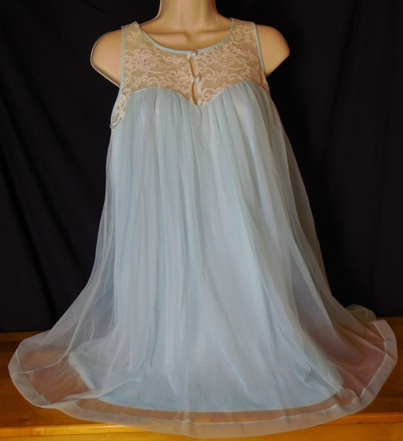 Vintage Baby Doll Nightie Double Layer Chiffon Blue With
