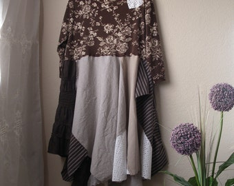 Prairie Girl Tattered Dress/ Western Style Lagenlook Tunic/ Large to XL