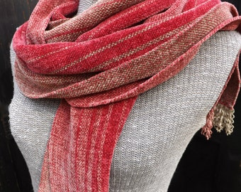 Rhubarb Chenille Scarf, Handwoven and Handmade