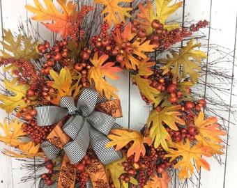 Large Fall Wreath,Thanksgiving wreath,fall wreath for front door, Fall Wreath, Fall wreath burlap, Autumn Wreath, Harvest Wreath, fall door