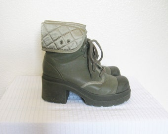 90s Army Green Chunky Heel Platform Combat Boots