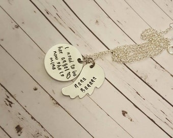 I used to be her angel now she is mine necklace, angel wing metal, memorial necklace, remembering loved ones, Angel jewelry, customize, mom