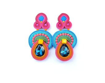 Long Clip - On Earrings -Unique  Handmade Soutache Earrings with Crystals - Hand Embroidered Soutache Earrings
