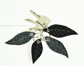 Felt Leaf Keychain with Mint Green stiched - sewn veins - Handmade