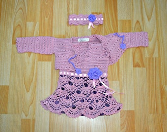 wedding outfit for baby girls, little girls dress with bolero, crochet baby dress set, made on order in the colour and size  of your choice