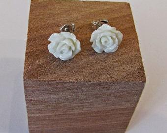 White - Rose Flower Stud Earrings - Hypoallergenic