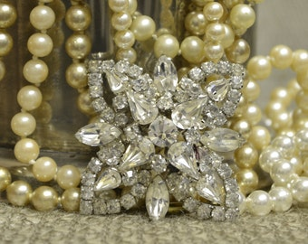 Pristine Vintage Clear Rhinestone Brooch Pin 1940's-1950's with 3 Layers