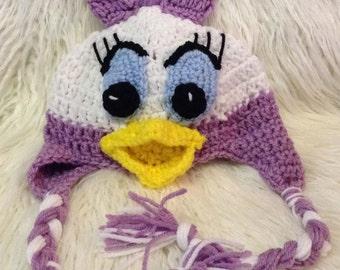 Crocheted Daisy Duck earflap hat, daisy duck hat, baby duck hat