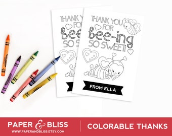 Colorable Thank You Card - Bee Theme - Customizable