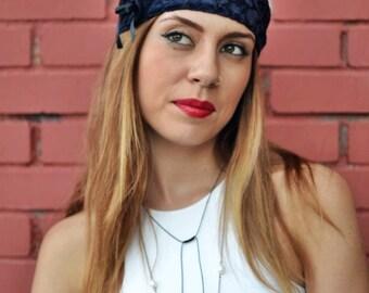 Navy Blue Headwrap, Floral Headband, Velvet Headwrap,  Elastic Headband, Fitness Headband, Vintage Headbands, Turban Headband, Womens Turban