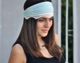 Pale Blue Headband, Ivory Lace Headband, Running Headband, Yoga Headband, Boho Headband, Workout Headband, Womens Turban, Womens Headband