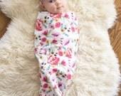 Swaddle Sack, Swaddle, Cocoon, Sleep Sack, Swaddle, Newborn, Blanket, Headband, Top Knot