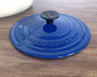 "Le Creuset Lid Cover ""B"" for Cast Iron Dutch Oven Cobalt Blue Discontinued France"