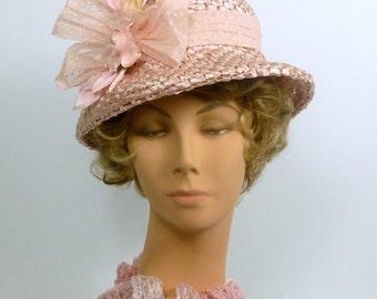 Light Pink Straw Hat - Modern Cloche Style -  Hand Blocked and Sewn - Vintage Italian Straw Body - Vintage Trim - Church -Wedding - Lunch