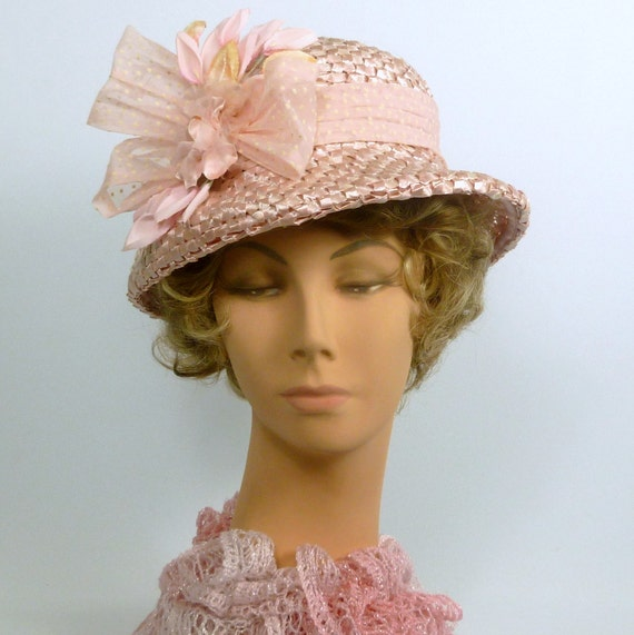 66b115c9957d3 Wedding Hat Garden Party Hat Straw Church Hats  Light Pink Straw Hat Modern  Cloche Style Hand Blocked And