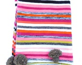 Exotic striped Moroccan Wool Pom Pom Blanket