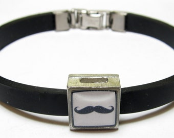 Cool Handlebar Mustache Link With Choice Of Colored Band Charm Bracelet
