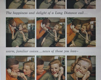 1961 ad Bell Telephone System Happy Couple Beige Rotary Phone Vintage Print Ad
