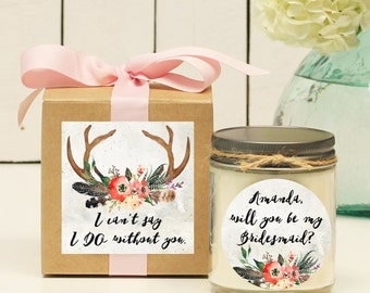 Will you be my Bridesmaid Gift | Will you be my Maid of Honor Gift | Tribal Bridesmaid Gift | Boho Bridesmaid Gift - Antler Label