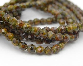 Czech Glass 4mm Mineral Mosaic Moss Green Fire Polish 50 Pieces