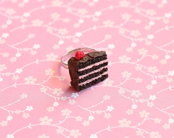 Miniature Raspberry Cake Slice Ring, Miniature Food Jewelry