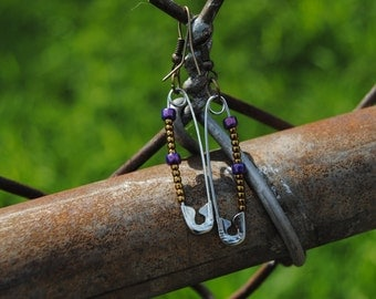 Safety Pin earrings w/ copper colored and Purple Glass beads Sustainable Fashion Ecofriendly Recycled reuse upcycled Jewelry Nickel Free