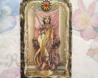 Mucha Justice Tarot Resin Pendant , Woman with Sword-Large Resin pendant, Vintage image, Mucha pendant, jewelry components, resin pendant
