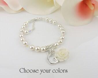 FREE United States Shipping Personalized Swarovski Pearl Flower Girl Bracelet, Flower Girl Rose Bracelet, Flower Girl Gift Best Seller