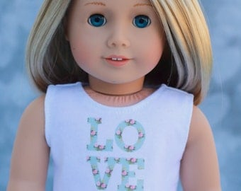 American Made Doll Clothes   Mint Green Rose Floral LOVE CROP TOP for 18 inch doll such as American Girl Doll