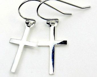 Trendy Solid .925 Sterling Silver Cross Dangle Earrings