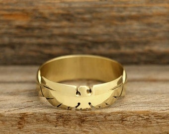 Hand Carved Thunderbird Ring in Brass