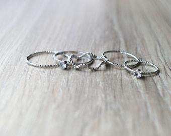 set of silver, Crystal stone metal rings.
