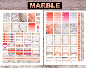Colorful Marble Planner Stickers for Erin Condren Print at Home DIY