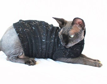 "Designer Cat Shirt ""Savvy Sequin"" Summerweight Cat Clothing"