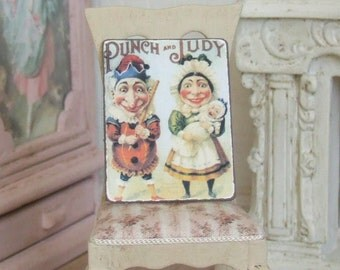 Dollhouse Miniature, Punch and Judy, Seaside Sign, Puppet Picture, Vintage Style, Shabby Cottage Chic, 1:12th Scale