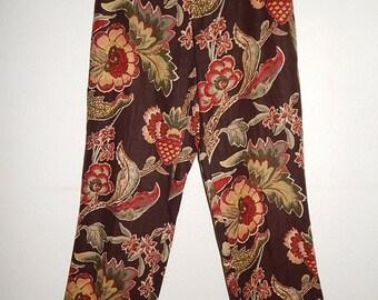 Ralph Lauren Womens 12 Linen Brown Floral Wide Leg Pants