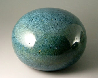 Ceramic Garden Art Orb, Glossy Blue-Green / Pottery Garden Sphere