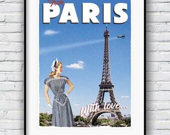 Paris Print, Retro Poster, Paris Poster, Vintage Poster, Eiffel Tower Print, Paris Decor, Travel Poster, 1950s Paris