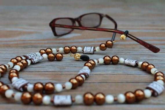Eyeglasses Holder, Bronze Chain for Glasses, Copper Eyeglass Chain, Eyeglass Accessory, Reading Glasses Beaded Chain, Nana Gift Idea