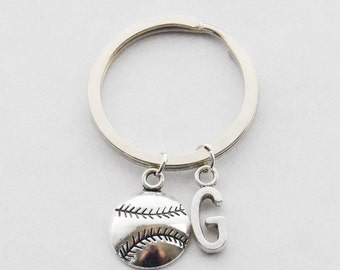 Baseball keychain Baseball Accessories Softball keychain Initial keychain Sports keychain Dad Keychain Father's Day Gift Custom Keychain Men