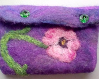 One of a Kind Flowery Detailed Wet and Needle Felted Purse