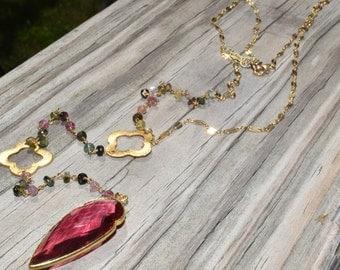 Watermelon Tourmaline Lariat Gold Filled Arrowhead Necklace