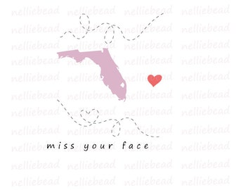 Florida State SVG Digital cut files - Long Distance Relationship - Use with Cricut or Silhouette Studio