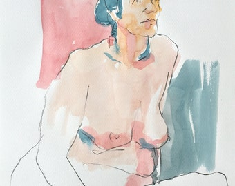 Naked woman. Bust. Watercolor. Drawing. Painting