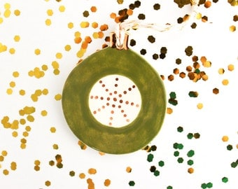 Green and Gold Christmas Ornament, Retro Christmas Tree Ornament, Ceramic Holiday Ornament, Polka Dot Ornament, Gold Christmas Decor