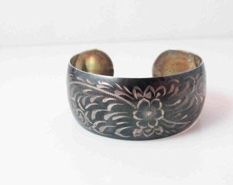 Ladye Fayre Sterling Metal Cuff Etched Floral Bracelet Vintage