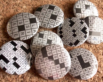 Assorted Crossword 1 Inch Pinback Buttons / Badges [Single Or Sets (5 Or 10) ]