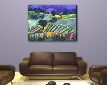 Wall art, Home Decor, Vineyard, Contemporary, Impressionist Landscape, Giclee on Canvas Gallery art Purple painting Title: The Wine Country