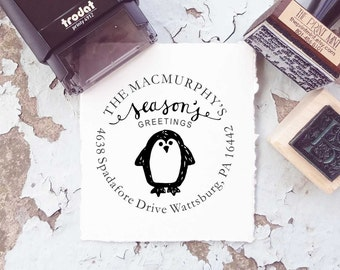 Custom Christmas Stamp, Penguin Stamp, Holiday Stamp, Christmas Tag Stamp, Merry Christmas Stamp Self Inking or Rubber Stamp 10150