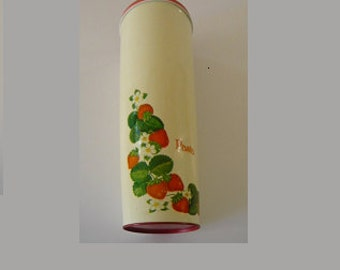 Pasta Canister Metal with Strawberry Decoration